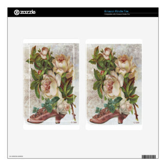 Victorian Pink Shoe White Roses Kindle Fire Skin