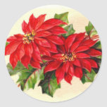 Victorian Poinsettia Christmas sticker