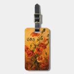 Victorian Poppies Painting Tags w/Custom Monogram Luggage Tag