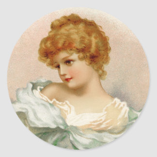 Victorian Portrait of a Young Woman Classic Round Sticker