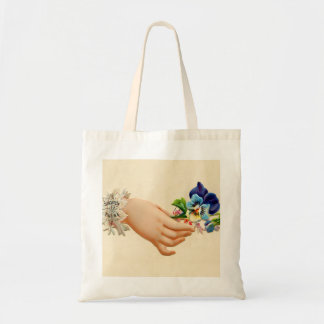 Victorian Posies Embossed Greeting Card Flowers Tote Bag