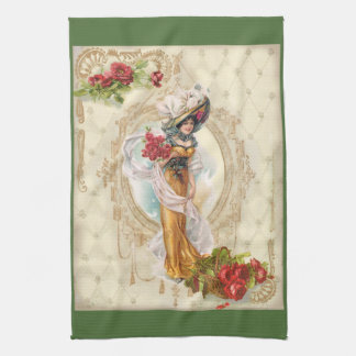 Victorian Pretty Woman in Yellow Dress Red Roses Kitchen Towels
