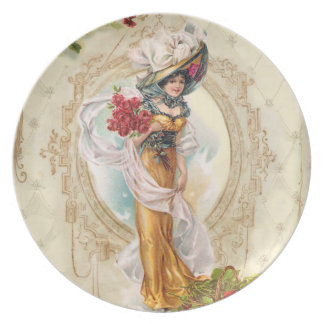 Victorian Pretty Woman in Yellow Dress Red Roses Melamine Plate