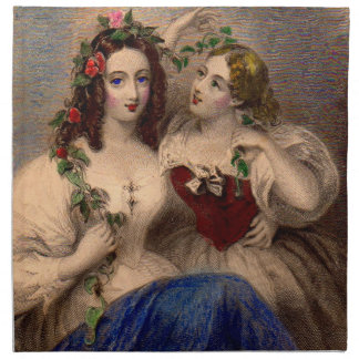 Victorian print The Parting Wreath hand-colored Cloth Napkin