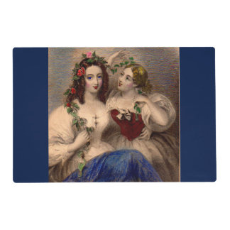 Victorian print The Parting Wreath hand-colored Placemat