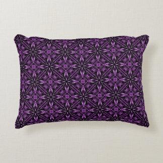 Victorian Purple Fractal Pattern Plain Purple Back Accent Pillow