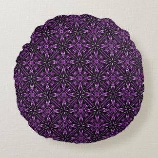 Victorian Purple Fractal Pattern Plain Purple Back Round Pillow