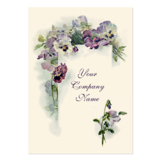 Victorian purple pansies business card