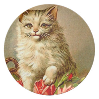 Victorian Pussycat Cat kitten Plastic Picnic Dinner Plate