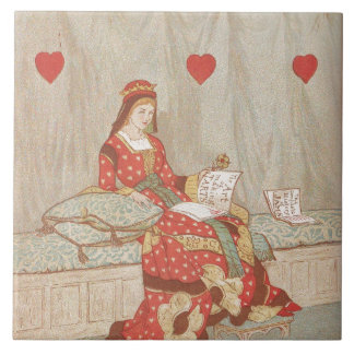 Victorian Queen of Hearts 1900's Valentine Ceramic Tile