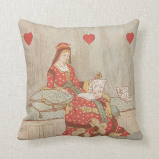 Victorian Queen of Hearts 1900's Valentine Throw Pillow