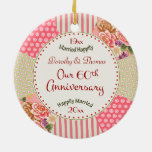 Victorian Quilt 60th Anniversary Christmas Gifts Ceramic Ornament