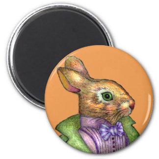Victorian Rabbit Gentleman Round Magent Refrigerator Magnet