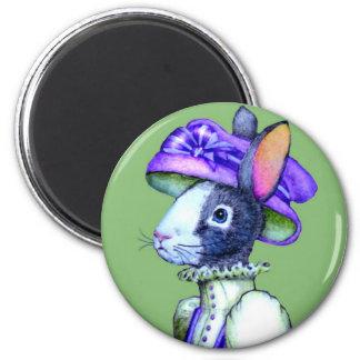Victorian Rabbit Lady Round Magent Fridge Magnets