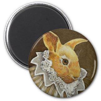 Victorian Rabbit Round Magnet