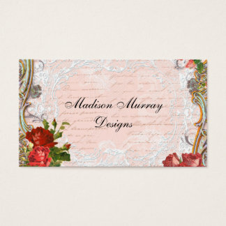 Victorian Red Rose French Script Writing Romantic Business Card