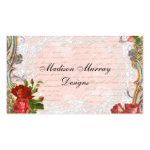 Victorian Red Rose French Script Writing Romantic Business Cards