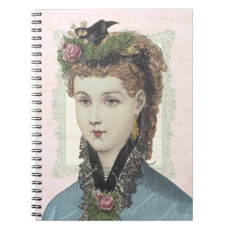 Victorian Redhead in Flower Bedecked Bonnet Spiral Notebook