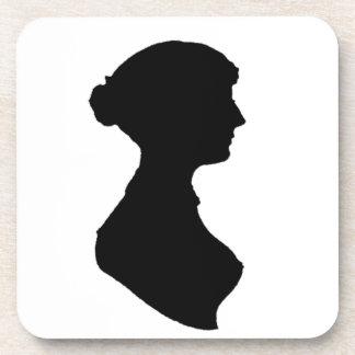 Victorian Regency Woman Silhouette Portrait Beverage Coaster