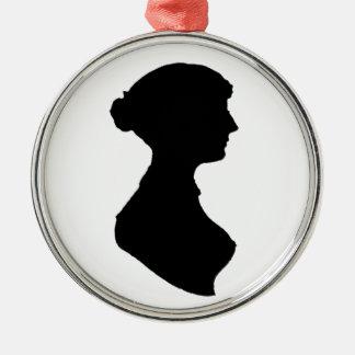 Victorian Regency Woman Silhouette Portrait Metal Ornament