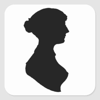 victorian regency woman silhouette portrait square sticker