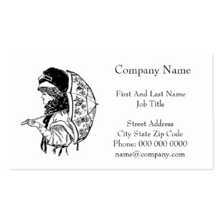 Victorian Regency Woman with Parasol Portrait Double-Sided Standard Business Cards (Pack Of 100)