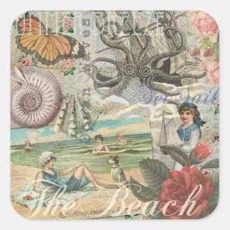Victorian retro del vintage de la playa del verano pegatina cuadrada