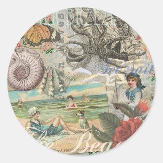 Victorian retro del vintage de la playa del verano pegatina redonda