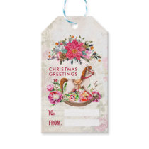 Victorian Rocking Horse & Poinsettia Christmas Gift Tags