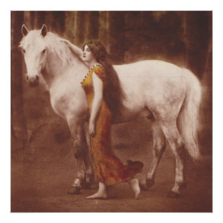 Victorian Romantic Girl with White Stallion Horse Poster