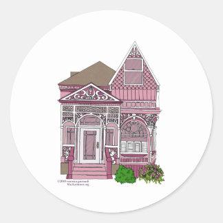 """Victorian """"rosa pintado de la señora"""" - pegatina redonda"""