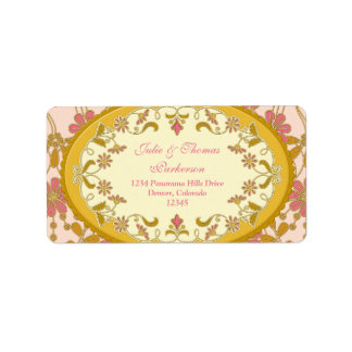 Victorian rosado del vintage del oro que casa el etiquetas de dirección