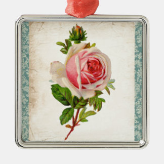 Victorian Rose and Damask Metal Ornament