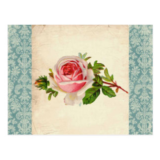 Victorian Rose and Damask Postcard