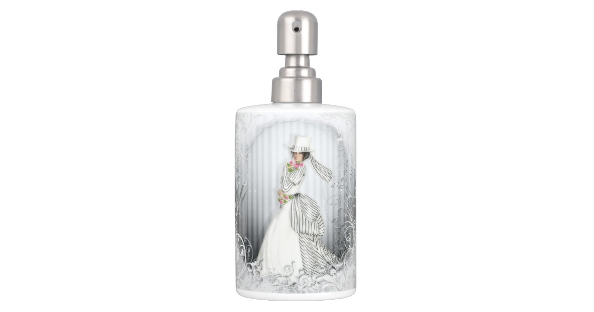 Victorian rose bathroom accessories soap dispenser and toothbrush holder zazzle - Victorian toothbrush holder ...
