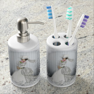 victorian rose bathroom accessories soap dispenser and toothbrush holder