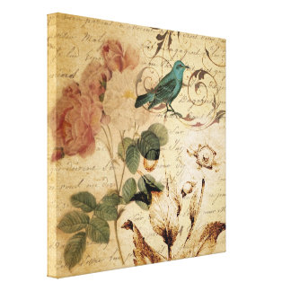 victorian rose bird Paris French Botanical Canvas Print