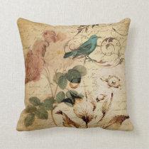 victorian rose bird Paris French Botanical Throw Pillow