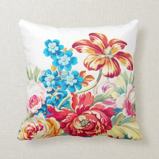 Victorian Floral Pillows : Victorian Rose Bold Colorful Floral Throw Pillow Zazzle