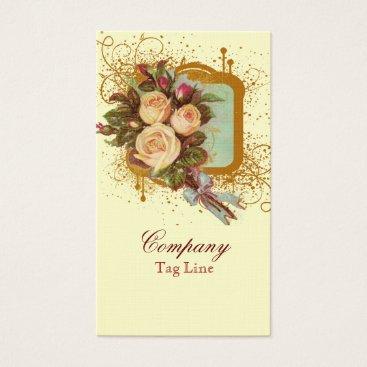 Professional Business Victorian Rose Bouquet Elegant Business Cards