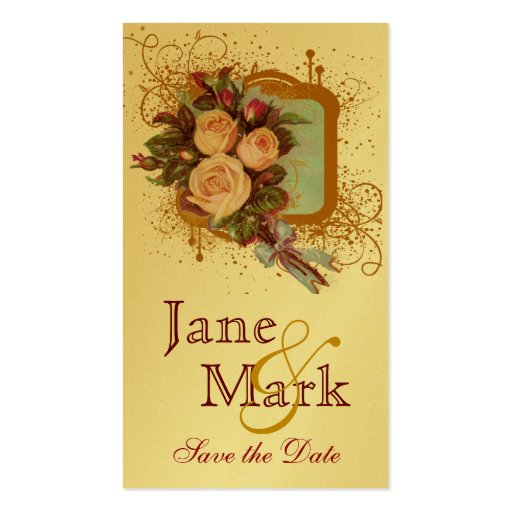 Victorian Rose Bouquet Elegant Save the Date Business Card