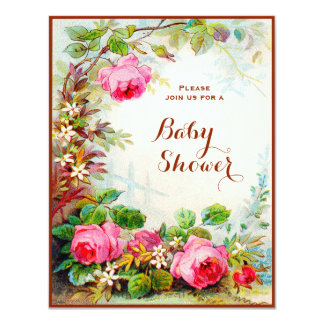 Victorian Rose Cottage Garden Baby Shower Card