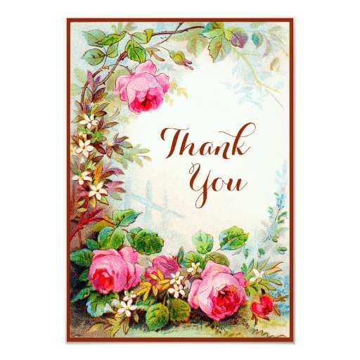 Victorian Rose Cottage Garden Blank Thank You Card   Zazzle
