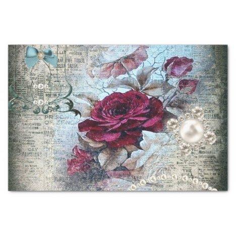 Victorian Rose Ephemera Decoupage Tissue Paper