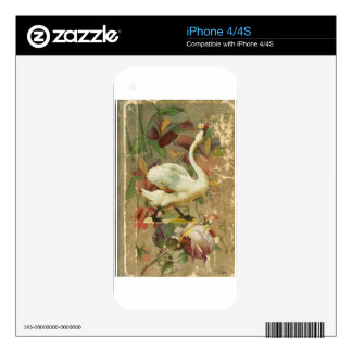Victorian Rose Floral Book with White Swan Decal For The iPhone 4S