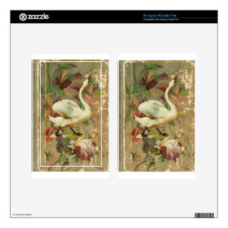 Victorian Rose Floral Book with White Swan Kindle Fire Skin