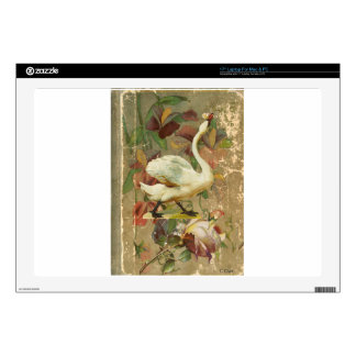 """Victorian Rose Floral Book with White Swan Skins For 17"""" Laptops"""