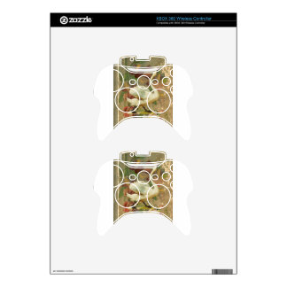 Victorian Rose Floral Book with White Swan Xbox 360 Controller Decal