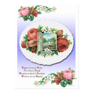 Victorian Rose Floral Friendship Card Postcard