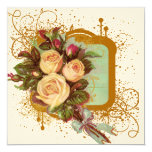 Victorian Rose Frame Square Personalized Announcements